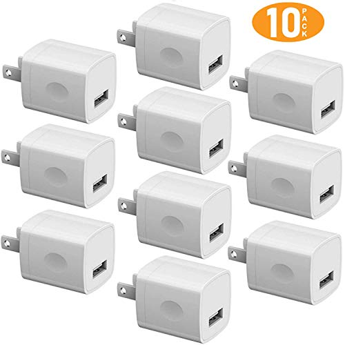 The USB Company Wholesale USB Wall Charger Bulk Charger Adapter Lot 10-Pack 1Amp Single Port Plug Cube Replacements White from The Universal Serial Bus Company