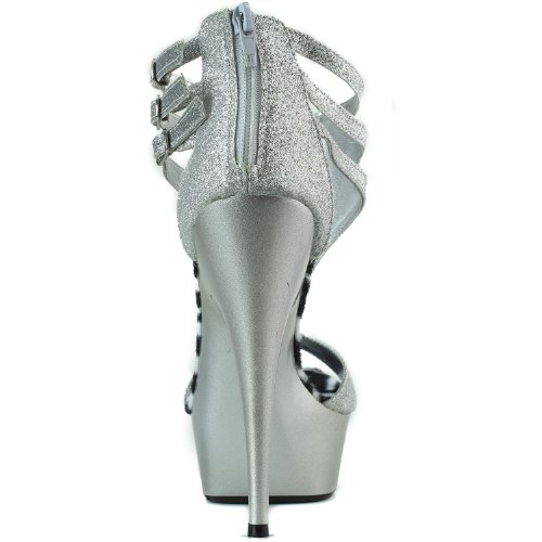 Womens Platform High Heel Peep Toe Ankle Strap With Buckles Glitter Evening Dress Sandals Fashion Shoes Silver IoDT3E
