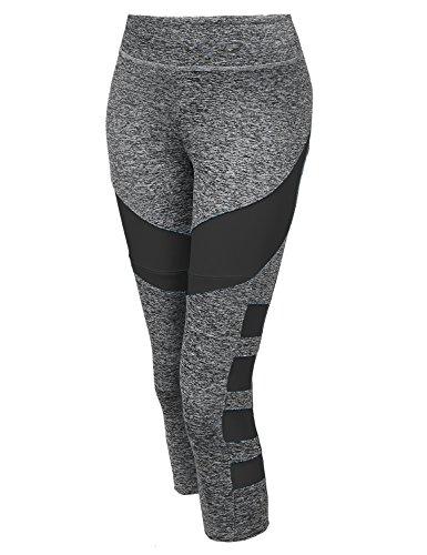 (Made by Emma Sports Yoga Fitness Workout Side Mesh Insert Stretch Capri Leggings Grey Black S)