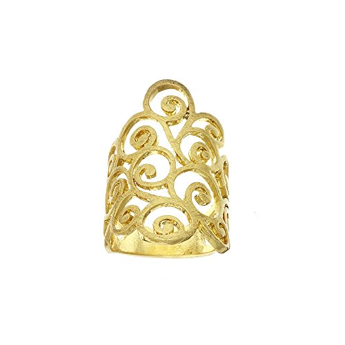 Collection Bijoux Brushed Finish Gold Tone Ring with Boho Paisely (Gold Tone Swirl)