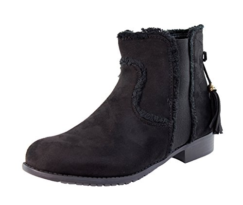 New Womens Ladies Flat Ankle Boots Chelsea Tassel Side Zip Casual Low Heel Shoes Black 6wYsKOC