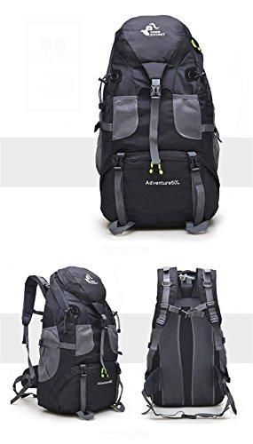 Deporte Bolsa de mochilas de senderismo 50L Capacidad grande de deportes al aire libre del bolso del alpinismo del camping Mochilas de viaje de los hombres de las mujeres , green Black