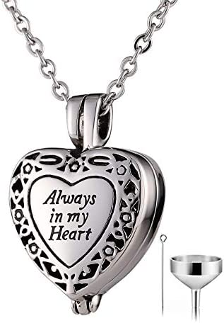 Beydodo Personalized Heart Cremation Urn Necklace for Ashes Always in My Heart Memory Necklace Gift with Funnel Kit