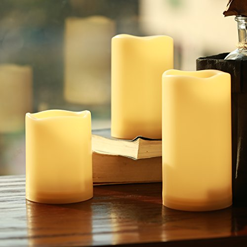 Flameless-Candles-Outdoor-Indoor-Waterproof-Battery-Candles-Set-of-3H-4-5-6-x-D-3With-Remote-Timer-by-Comenzar-Ivory-yellowBatteries-not-included