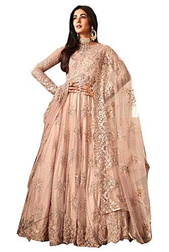 89d2cf71c1 STELLACOUTURE Ethnic wear Peach Colored Anarkali Indian Pakistani Salwar  Kameez for Women 6701 (Peach,