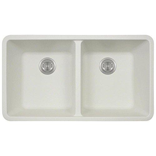 (802 White Undermount Double Equal Bowl Quartz Kitchen Sink)