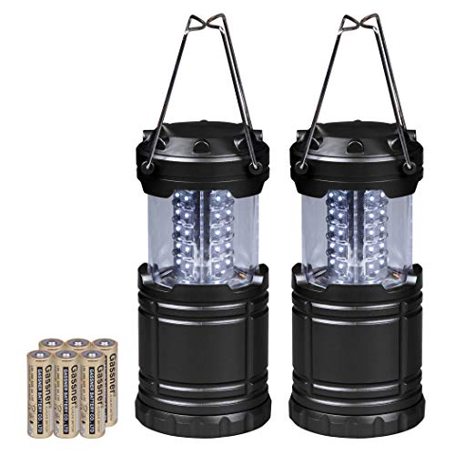 CARTMAN 2 Pack Portable LED Camping Lantern Flashlights – Survival Kit for Emergency, Hurricane, Outage Black, Collapsible
