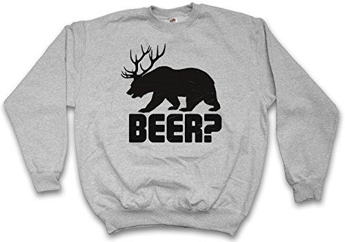 Beer? Sweatshirt  Deer Bear Fun Hunt Antlers Hunter Alcohol Drinking Sport Barstool Sizes S  3XL
