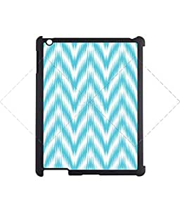 Vintage sky blue stripes Zigzag iPad 2/3/4 Case Protective Back Cover Case for iPad 2/3/4 - Black Case AArt#909