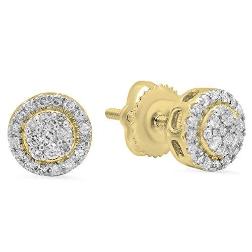 Dazzlingrock Collection 0.30 Carat (ctw) 10K Round White Diamond Ladies Circle Cluster Stud Earrings 1/3 CT, Yellow Gold