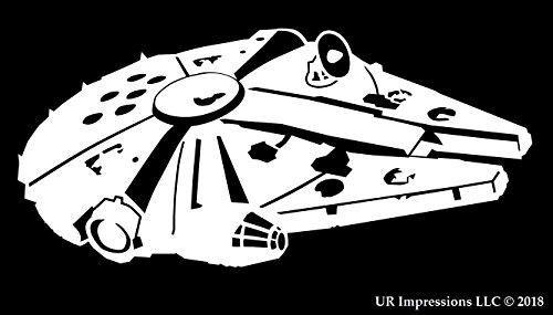UR Impressions Millennium Falcon Decal Vinyl Sticker Graphics Cars Trucks SUV Vans Walls Windows Laptop|White|6.25 X 3.6 Inch|URI543 ()
