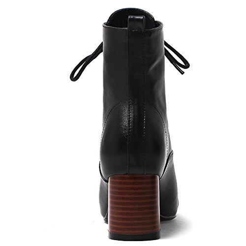 Nueve Siete De Cuero Genuino Para Mujer Square Toe Chunky Heel Lace Up Vestido Hecho A Mano Botines Negro
