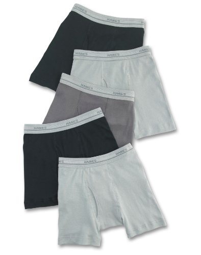 Hanes Boys` Dyed Boxer Brief, S-Black/Grey