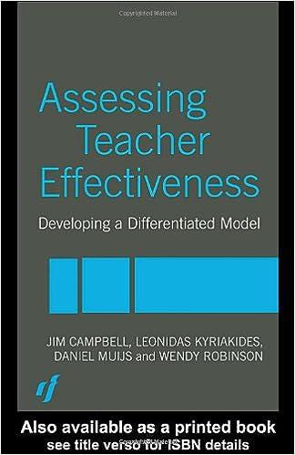 Assessing Teacher Effectiveness Different Models Paperback March 12 2004