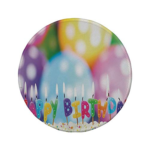 Non-Slip Rubber Round Mouse Pad,Birthday Decorations for Kids,Colorful Candles on Party Cake with Abstract Blurry Backdrop,Multicolor,7.87