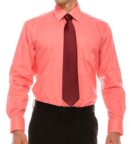 Volcan Mens Regular Fit Dress Shirt w/Reversible Cuff, 17 (Coral, 2XL-18-34) by Volcan