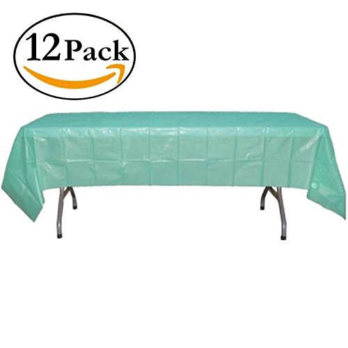 12-Pack - Premium Plastic Tablecloth 54in. x 108in. Rectangle Table Cover - Aqua Blue
