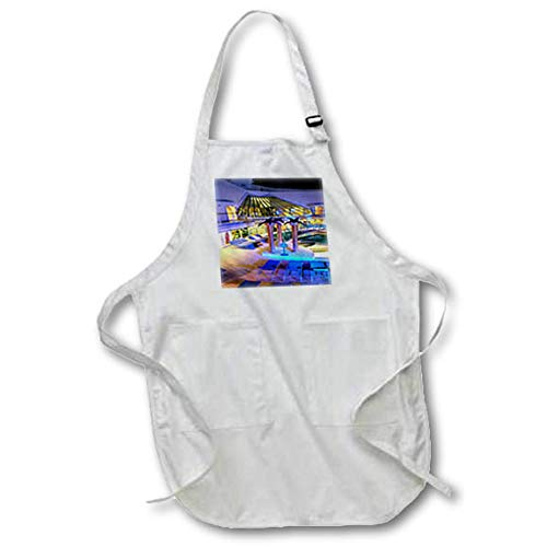 3dRose Lens Art by Florene - Cruise Ship Sites - Image of Adult Pool Area with Spa - Black Full Length Apron with Pockets 22w x 30l (apr_291436_4)