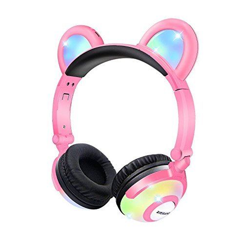 Bear Headphones with Flash Light Wired Ear Headband Best Gift for Kids Women Cosplay Fans Pink