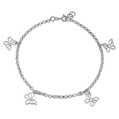 4 Multi Butterfly Anklet Dangle Charm Ankle Bracelet 925 Sterling Silver 9 to 10 In ()