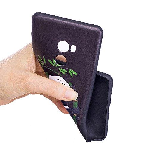 Funda Xiaomi Mi Mix 2,Carcasas Xiaomi Mi Mix 2,Moda Alta Calidad de Relieve Pintura TPU Flexible Silicona Suave Funda Carcasa Caso Cover Caja Suave Gel Shock Absorción Anti Rasguños Anti Choque Bumper Panda de bambú