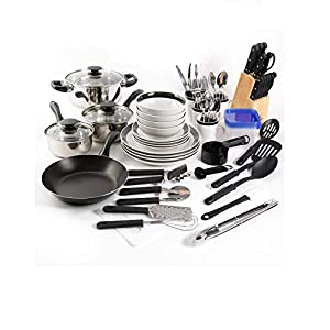 Large Kitchen Combo Set. This 83 piece kitshen starter set has everything you need. Stainless steel cookware, dinnerware…