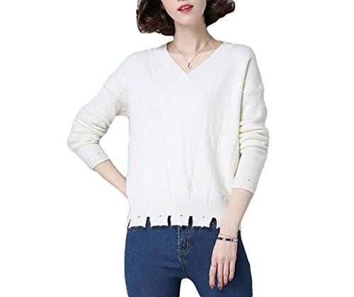 Suéter Flojo Del Color Sólido V-cuello De Las Mujeres Del Resorte De Manga Larga Jersey Basa La Camisa White