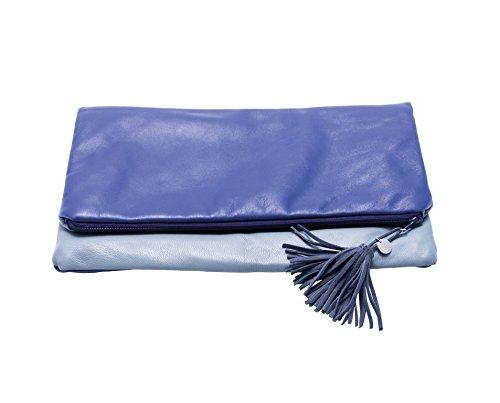 Beka & Bell Damen Lederhandtasche Clutch Chicago lila/grau