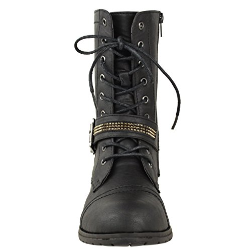 Black LOW ANKLE Faux Leather NEW ARMY BIKER MILITARY UP WOMENS LACE FLAT LADIES HEEL SIZE ZIP BOOTS SPxZqP6t