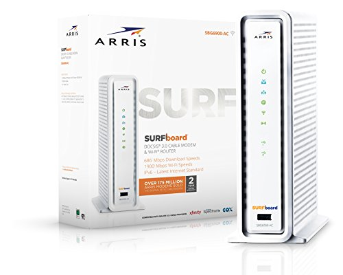 ARRIS SURFboard SBG6900AC Docsis 3.0 16x4 Cable Modem/Wi-Fi AC1900 Router - Retail Packaging - White