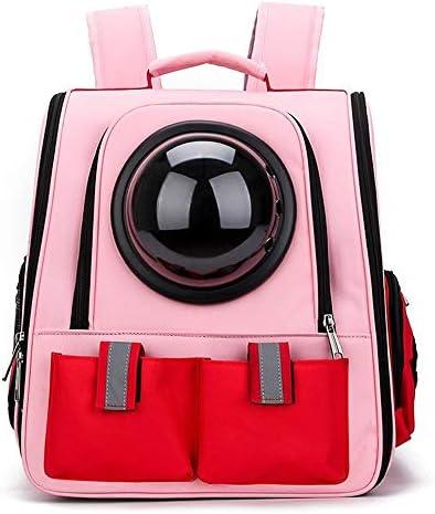 AXRXMA 新しいキャットバッグ折りたたみスペースペットリュック多孔性通気性ペットバッグアウトキャリーバッグ (Color : Pink)