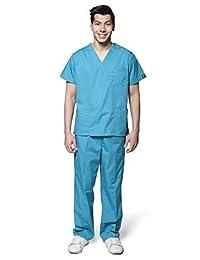 Dress A Med Men's Classic 7 Pocket V-Neck Scrubs 2 Piece Top & Pants Set