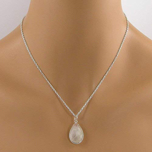 Rainbow Moonstone Sterling Silver Teardrop Bezel Necklace