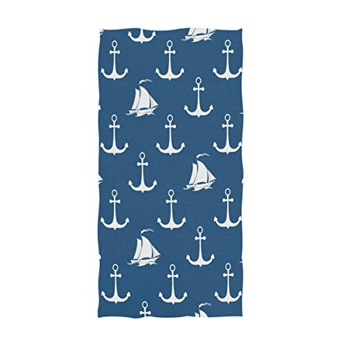 Naanle Stylish Anchor Sailboat Pattern Soft Large Hand Towels Multipurpose for Bathroom, Hotel, Gym and Spa (16