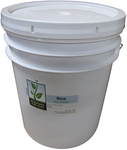 Rice – White Long Grain Non-gmo, Gluten Free for Japanese, Asian, Thai Dishes, Sushi, Stir Fry, Steamed, Pilaf, or Fried – Kept in 5 Gallon Buckets for Emergency Storage Review