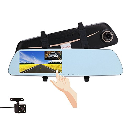 5 Inch Touch Screen Car Camera 5″ Rearview Mirror Dash DVR Cam Night Vision Front and Rear Dual Lens Video Recorder Reversing Backup Camera Review