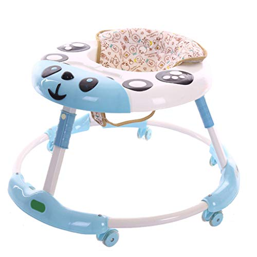 Meen Andador De Bebe, Nuevo Empujador Antirremolque Multifuncional Walker Tipo U Plegable con Music Walker (Color : Azul)