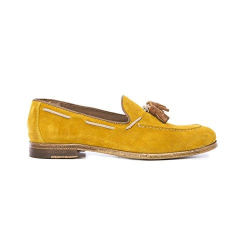 Mocassino Uomo in Pelle Scamosciata con Nappine Scarpe Artigianali Uomo di Colore Giallo ocra Calzature Italiane Leather Loafers Made in Italy