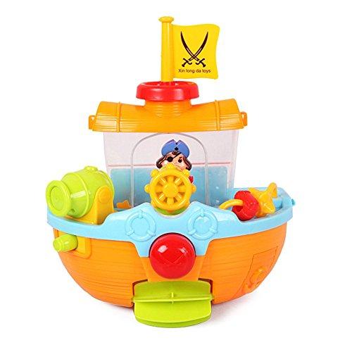 GudeHome Bathtime Spielzeug Pirate Ship Badewanne Bad-Spielzeug für Kinder mit Wasserkanone und Boots Scoop