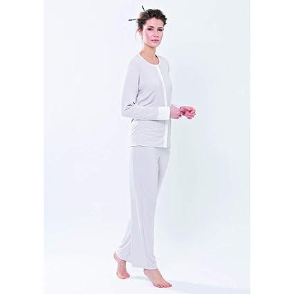 Pijama de mujer abierto de manga larga de viscosa blanco perla (ral 1013) XL