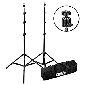 "Fovitec - 2x 7'6"" VR Gaming Lighthouse Mount Stand Kit - [HTC Vive and Oculus Rift Compatible][Adjustable Ball Heads][Includes Carrying Bag]"