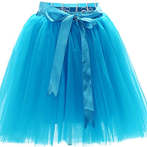 Women's High Waist Princess Tulle Skirt Adult Dance Petticoat A-line Wedding Party Tutu(Blue),One -