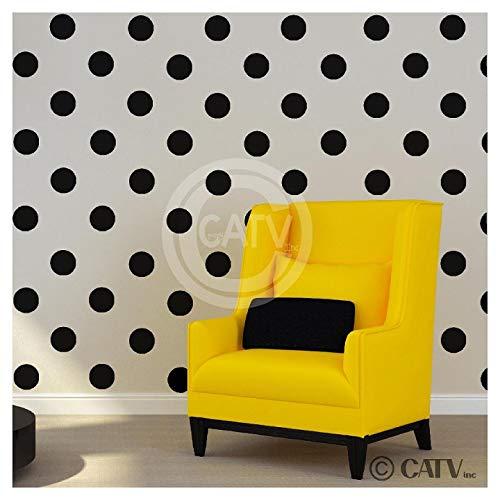 4x4 Set of 48 Polka Dot Circles vinyl lettering decal home decor wall art saying (Black)
