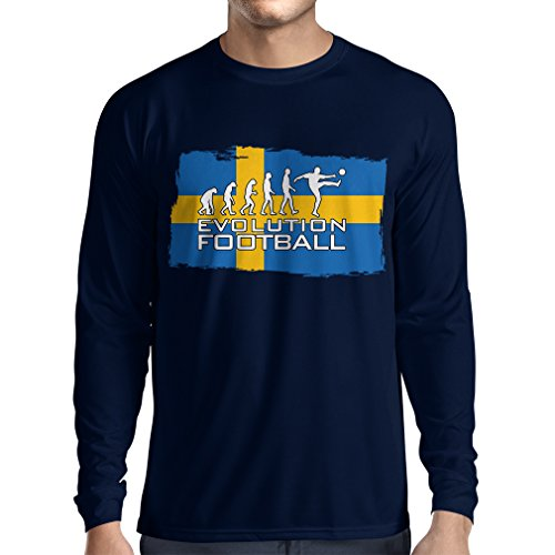 fan products of lepni.me N4471L Long Sleeve t Shirt Men Keep Calm, God Will Bless The Swedish Football Team (X-Large Blue Multi Color)