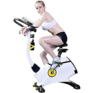 Allenamento Spin Bike Professionale Cyclette Aerobico Home Trainer, Regolazione Della Resistenza a 8 Livelli, Quadrante Elettronico, Monitoraggio Della Frequenza Cardiaca, Volano Silenzioso