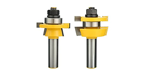 2Pcs 1//2/'/' Shank T Type Shaker Bevel Rail /& Stile Router Bit Set For Wooden Door