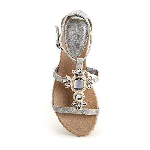 de detalles Scarpe ALESYA y amp;Scarpe Sandalias piedras cuerda Gris con by bajas q4q8xnz