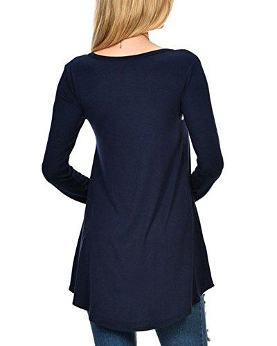 Bleu Fonc Femmes Swing T Tops Shirt Tunique Robe Robe Ourlet Manche Longue Chemisier BPBw7a