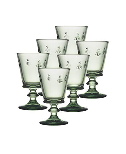 La Rochere Napoleon Bee Verdigris 8 oz Wine Glass (Set of 6), Green