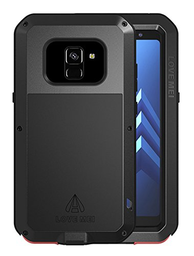 Love MEI Waterproof Aluminum Case Samsung Galaxy A8 Plus (2018 Version) Tempered Glass Screen Cover Protector Black [Two-Years Warranty] by Love Mei (Image #1)